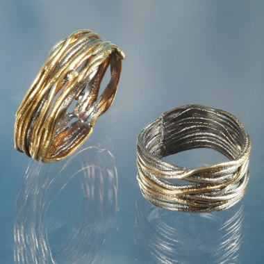 rings - P 37 - Wedding Rings: oxidized silver, gold